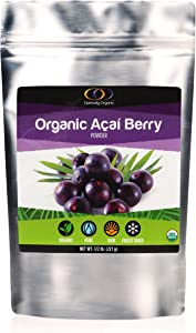 Organic Freeze Dried Acai Berry Powder - 100% Pure Superfood Powder- Source of Vegan Protein and Omega Fatty Acids - Natural Multi-Vitamins - Kids Love it! - 8oz
