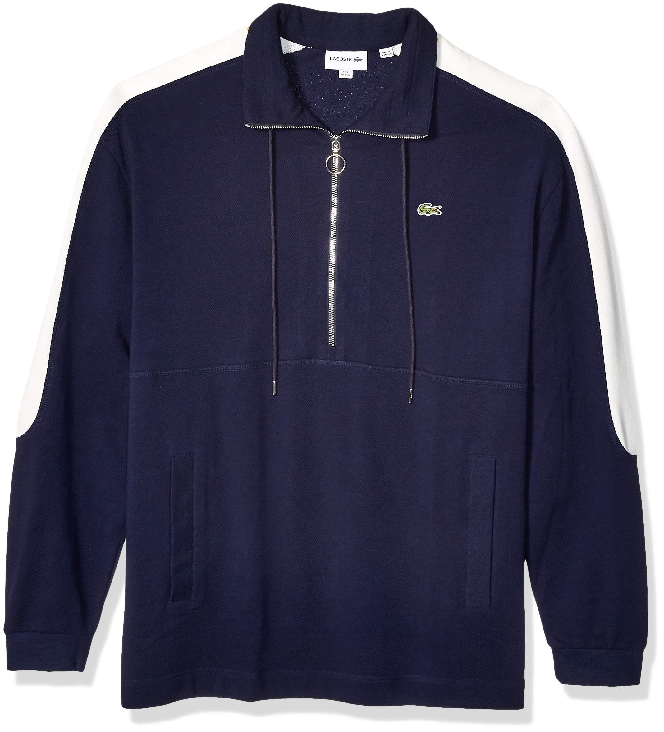 Lacoste Men's Long Sleeve Pique LOURD Relax FIT, Navy Blue/Flour, XX-Large