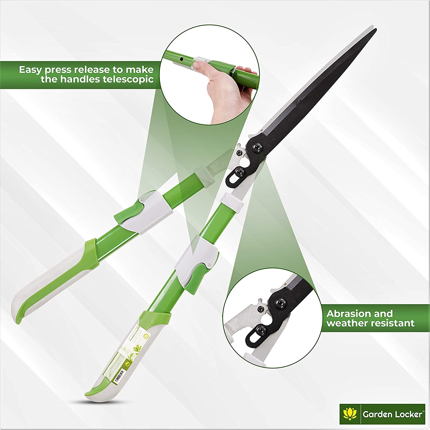 REPEAK Garden Telescopic Ratchet Shears for Outdoor Pruning of Trees Branches and Hedges Extends from 74cm to 89cm with Non Stick Blades Aluminium Handles /& TPR Plastic Grips