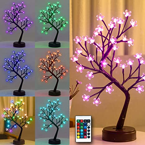 Amazon Com Pooqla Rgb Cherry Blossom Tree Light With Remote Control 16 Color Changing Led Artificial Flower Bonsai Tree Table Top Lamp Modern Home Lit Tree Centerpieces Decoration 36 Led Kitchen Dining