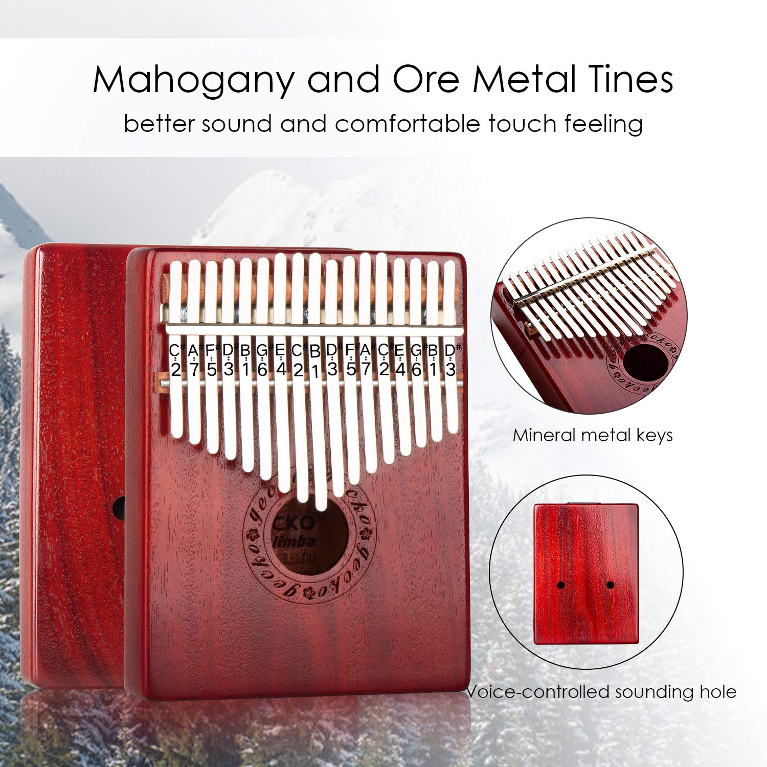 GECKO Kalimba 17 Keys Wide Key Thumb Piano builts-in EVA high-Performance Protective Box, Tuning Hammer and Study Instruction.K17MA by GECKO (Image #5)