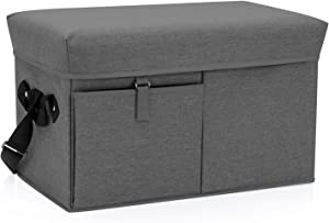 ONIVA - a Picnic Time Brand Ottoman Insulated Collapsible Cooler/Picnic Tote, Grey