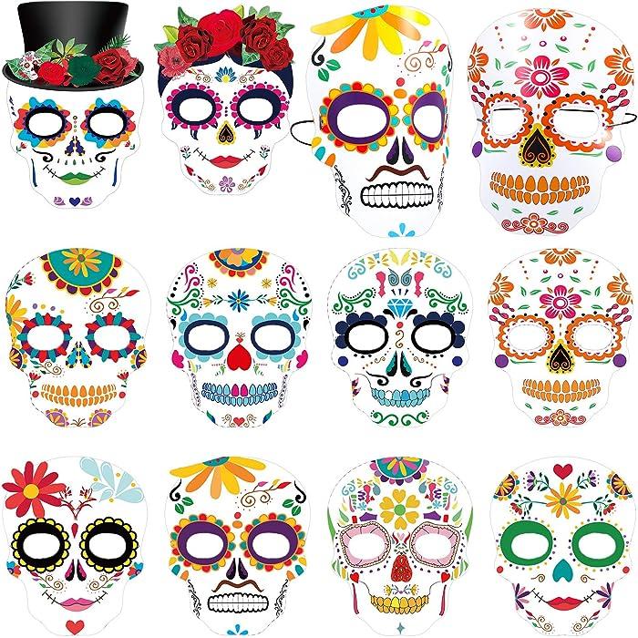 Day The Dead Masks Dia de Los Muertos Sugar Skull Face Tatoo Masks Skeleton Halloween Face Masks Black and Bone Mexican for Boy Girls Sugar Skull