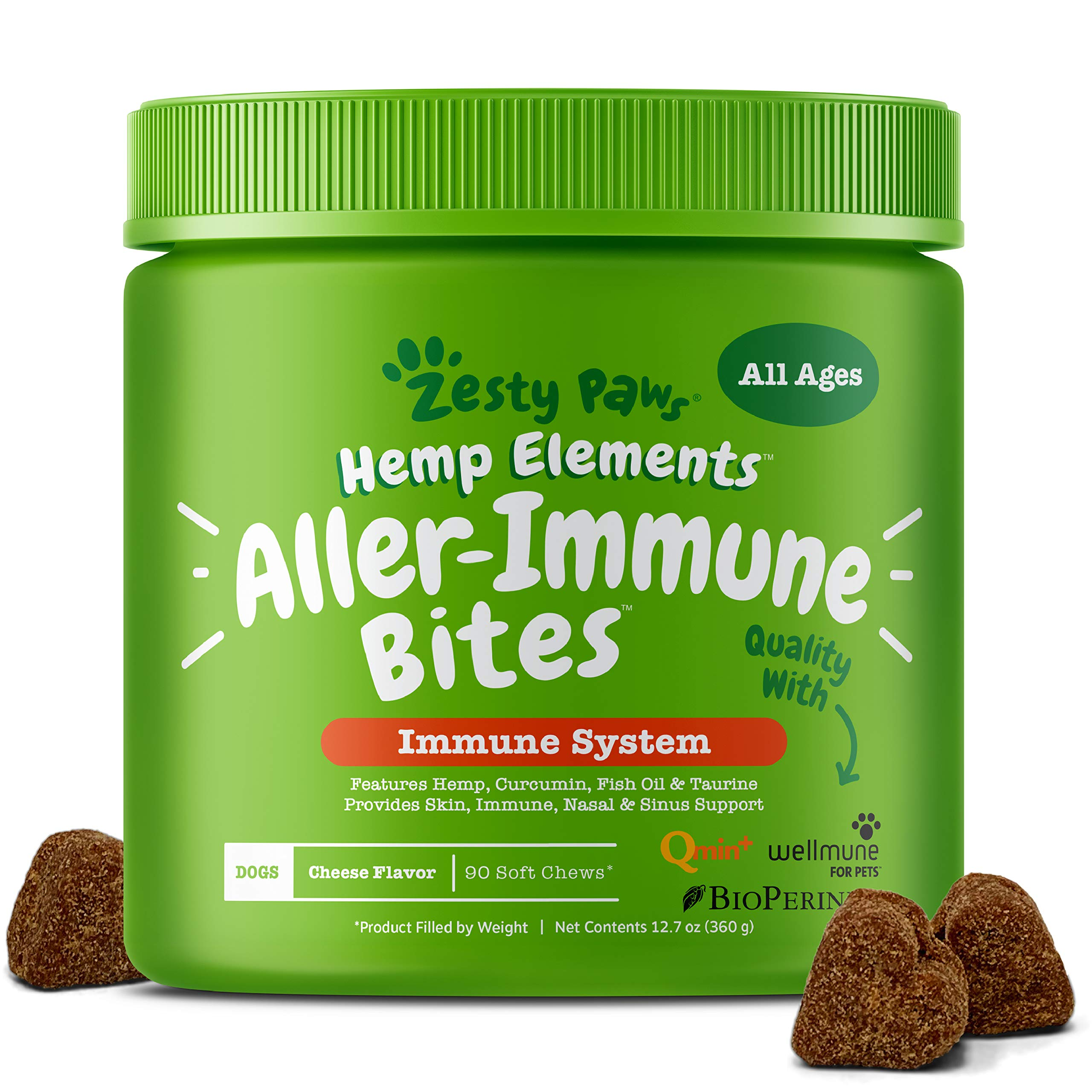 Allergy Immune Supplement with Hemp for Dogs - For Skin & Sinus + Seasonal Pollen Dog Allergies - With Cod Liver Fish Oil, Curcumin, BioPerine, Vitamin C & Quercetin - Omega 3 & 6 Support - 90 Chews by Zesty Paws