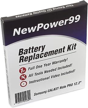 Kit de Remplacement de Batterie pour Samsung Galaxy Note Pro 12.2 Série (SM P900, SM P901, SM P905, SM P907A) Tablet avec Vidéo d'Installation,