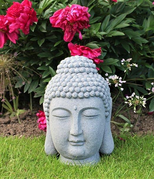HH Home Hut - Adorno de jardín con cabeza de Buda grande y gigante para exteriores (45 cm): Amazon.es: Jardín