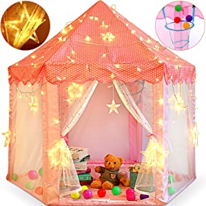 ZNCMRRPrincess Castle Play Tent for Little Girls with Large Star String Lights & Balls ,Kid's Hexagon Playhouse for Children Indoor and Outdoor Games 55'' x 53'' Pink