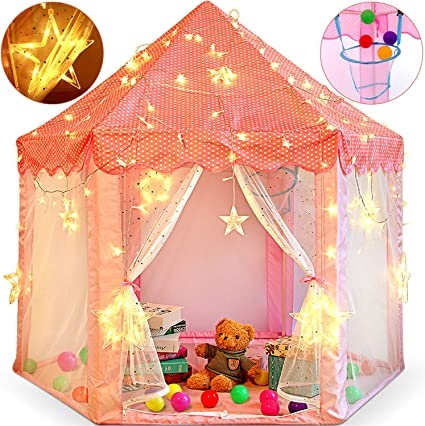 Princess Castle Play House Large Indoor//Outdoor Kids Play Tent /&String Lights US