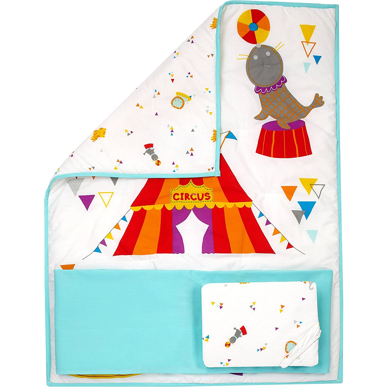 Little Bedding by Nojo Reversible Step Right Up//Circus Print 3-Piece Crib Bedding Set Pinwheel