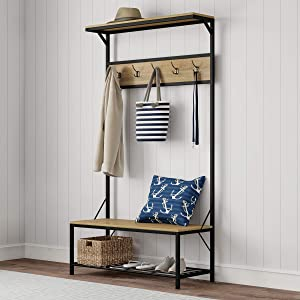 "Lavish Home Metal Entryway Bench Hall Tree with Seat, Coat Hooks and Shoe Storage-Rustic Farmhouse Design Freestanding Mudroom Furniture, 39"" W"