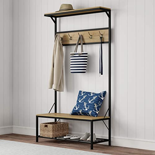 Lavish Home Metal Entryway Bench Hall Tree with Seat, Coat Hooks and Shoe Storage-Rustic Farmhouse Design Freestanding Mudroom Furniture, 39 W