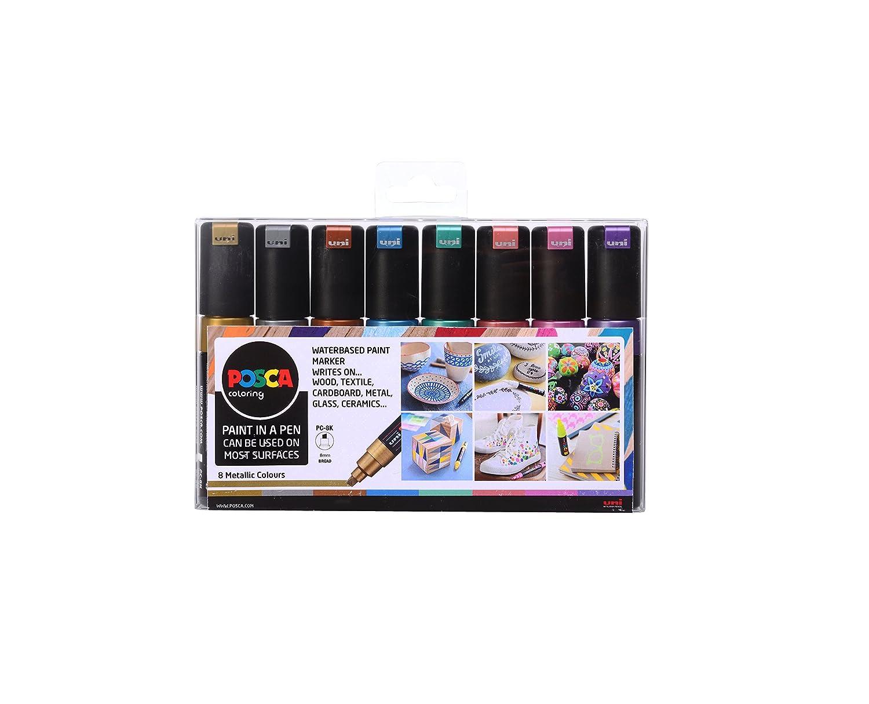 """POSCA 153544856 PC-8K """"Metallic Paint in a Pen""""-Set, 8 mm breite Keilspitze aus Acryl, wasserbasierte Filzstifte, 8 Farben Mitsubishi Pencil"""