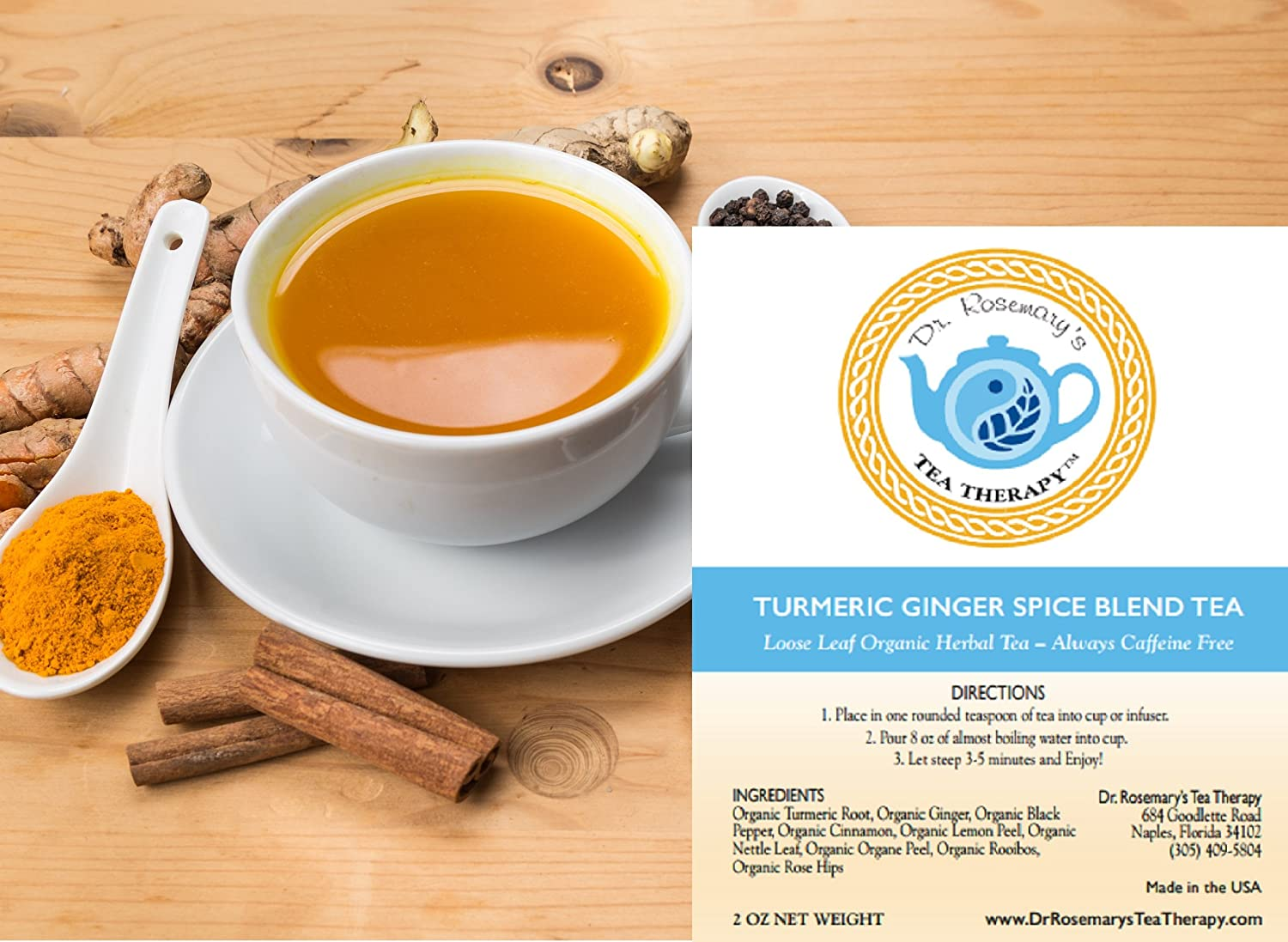 Turmeric Ginger Spice Blend Herbal Tea - Organic Caffeine & Gluten Free  Loose Leaf Herbal