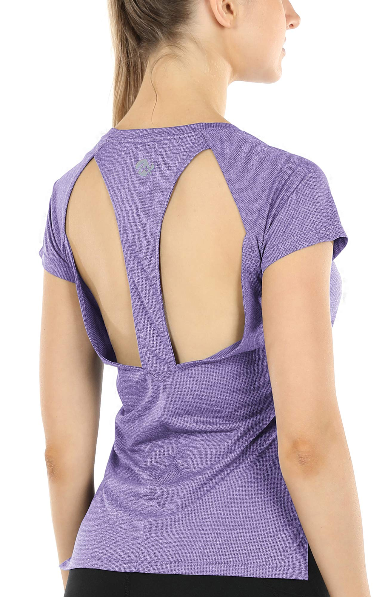 Melpoint Workout Yoga Shirts for Women - Open Back Athletic Tops Gym Running Exercise Tshirts Loose Fit (Lavender, L)