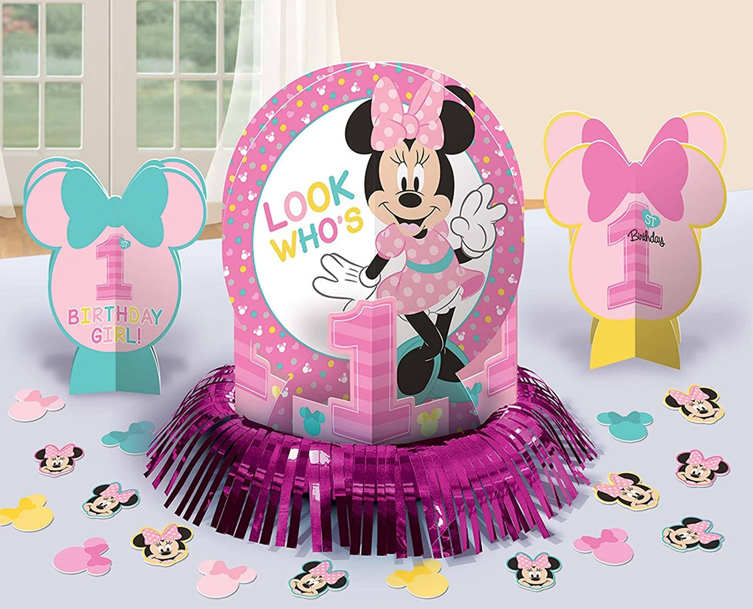 Amazon 1st Birthday Minnie Mouse Table Decorating Kit 23 Piece