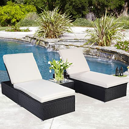 Incredible Amazon Com Black Wicker Rattan Chaise Lounge Chair Set Caraccident5 Cool Chair Designs And Ideas Caraccident5Info