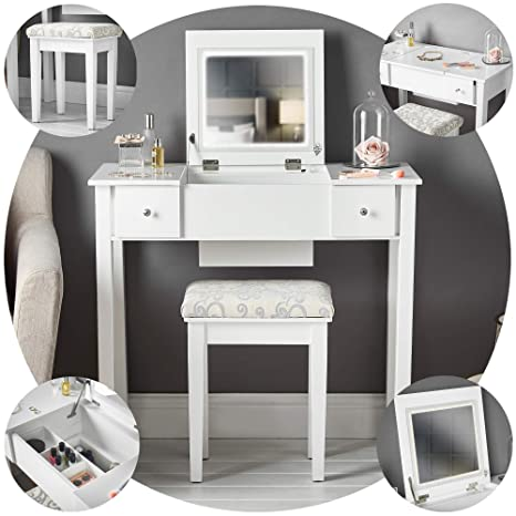Terrific Coco White Dressing Table With Led Lights Flip Top Mirror Stool 2 Drawers Set For Bedroom Makeup Jewellery Storage Ncnpc Chair Design For Home Ncnpcorg