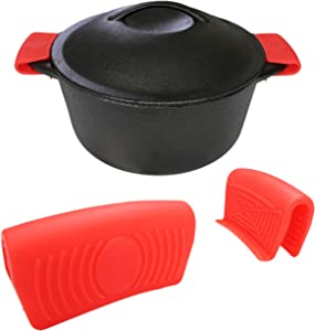 Crucible Cookware Silicone Hot Handle Holder (2-Pack) for Cast Iron Woks, Pots, Dutch Ovens, Small Skillets, Assist Handle, Oven Trays, Plates - Potholders - Red