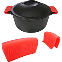 Silicone Hot Handle Holder (2-Pack) for Cast Iron Woks, Pots, Dutch Ovens, Small Skillets, Assist Handle, Oven Trays…