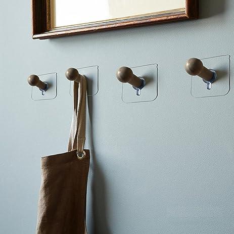 Schon Sendida Adhesive Wooden Hooks Hanger   4 Pack No Drills Wood Peg Hooks  Storage Wall Mounted
