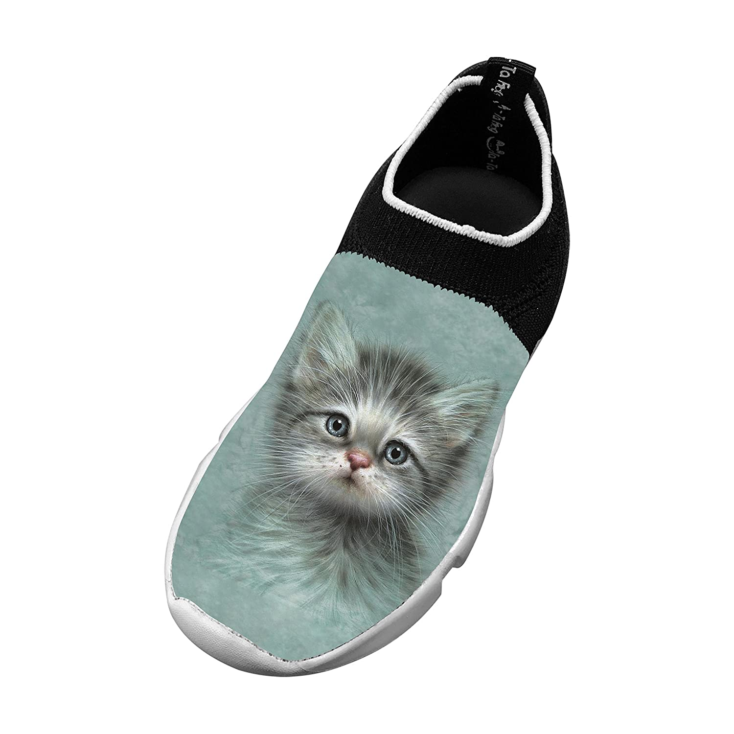 New Cool Flywire Weaving Gym shoes 3D Customized With Blue Eyed Kitten For Unisex Kids