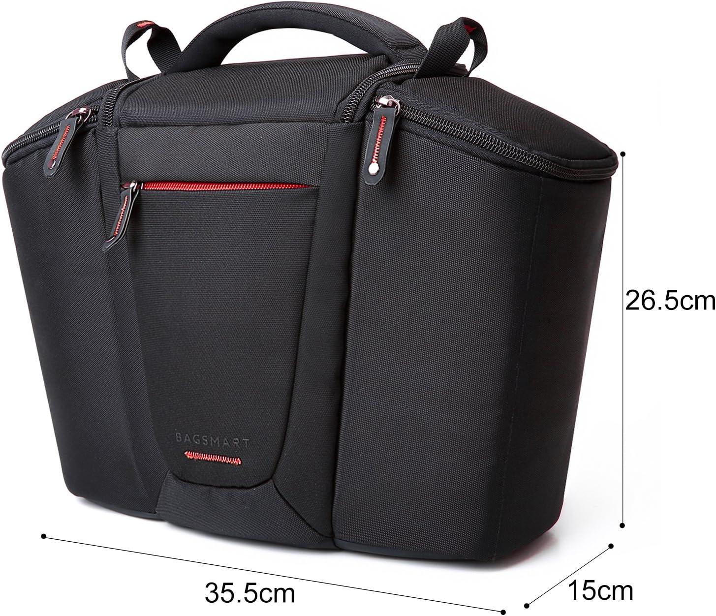 BAGSMART Gepolsterte SLR DSLR Kameratasche mit Regenschutzh/ülle f/ür Objektive bis zu 200mm