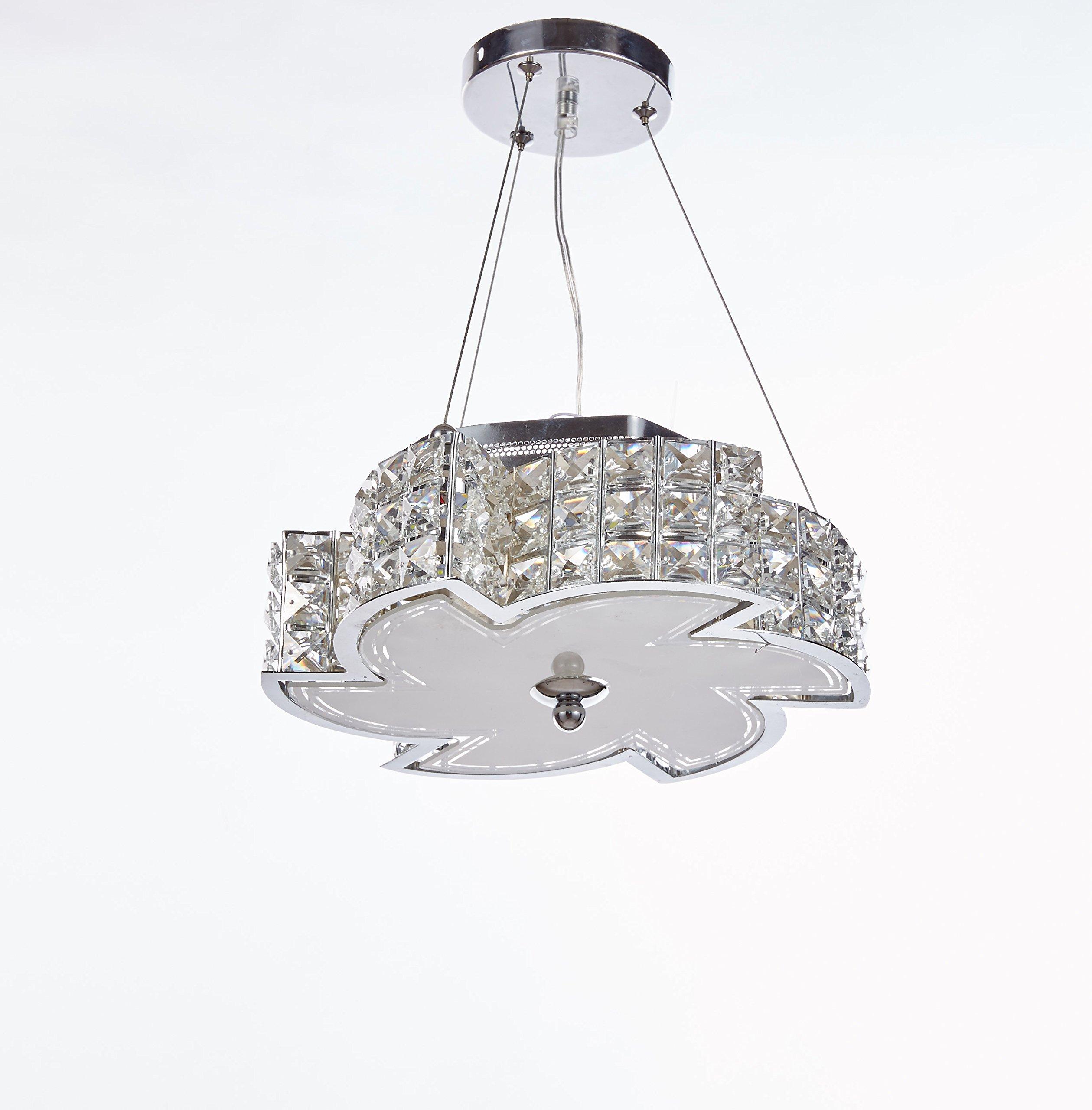 Diamond Life Modern LED Crystal Chandelier Pendant Hanging or Flush Mount Ceiling Lighting Fixture, 3 light colors in one Smart Lamp, #506