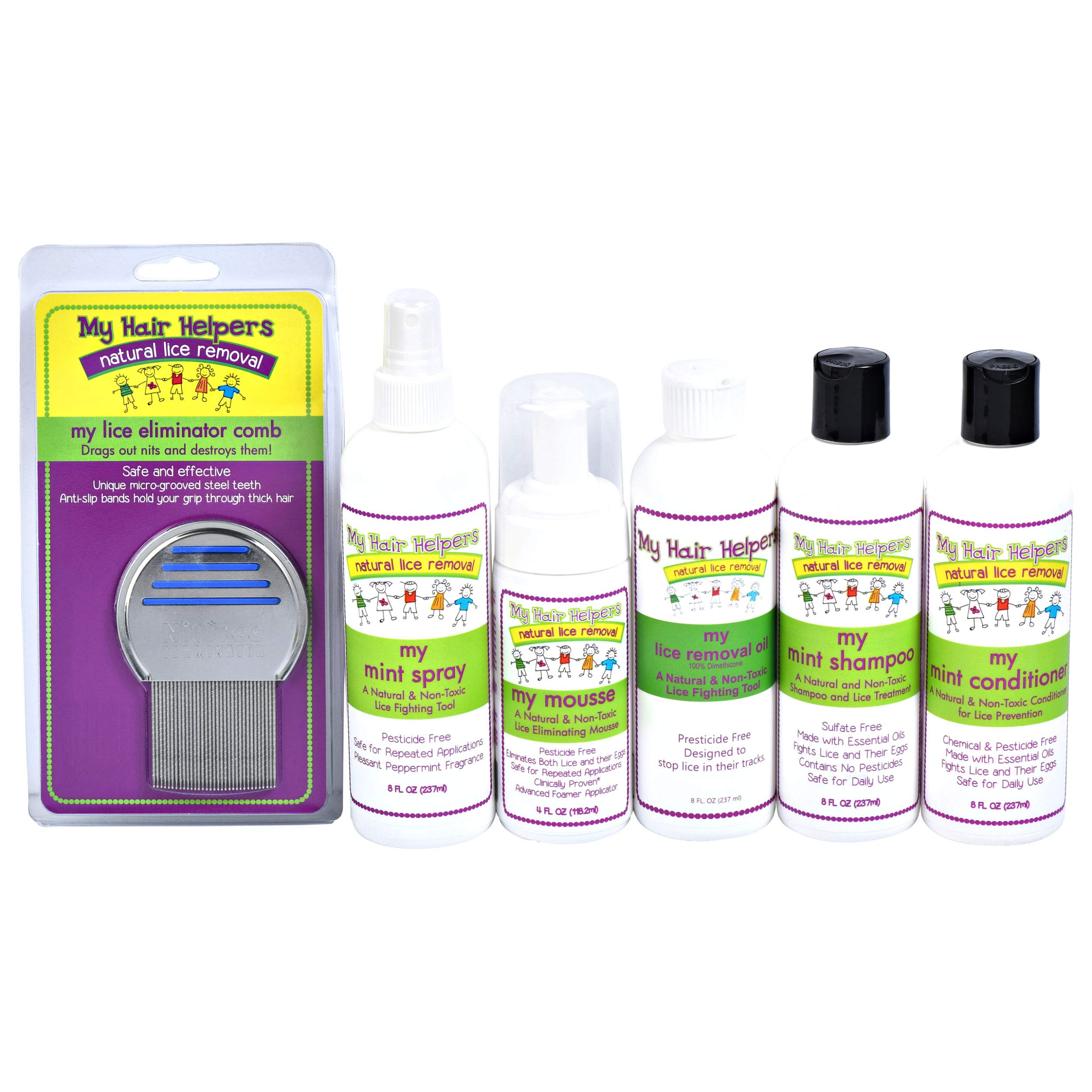 Family-Size Head Lice Treatment - Kit Includes Nit Removal Comb, Mousse, Mint Shampoo and Conditioner, Repellent Spray, and Removal Oil Treats 2-3 Kids by MY HAIR HELPERS NATURAL LICE REMOVAL