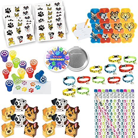 Amazon Puppy Paw Birthday Party Favors Cat Dog Print 132 Pc Huge Bundle Includes Treat Box And 10 Each For 12 Kids Toys