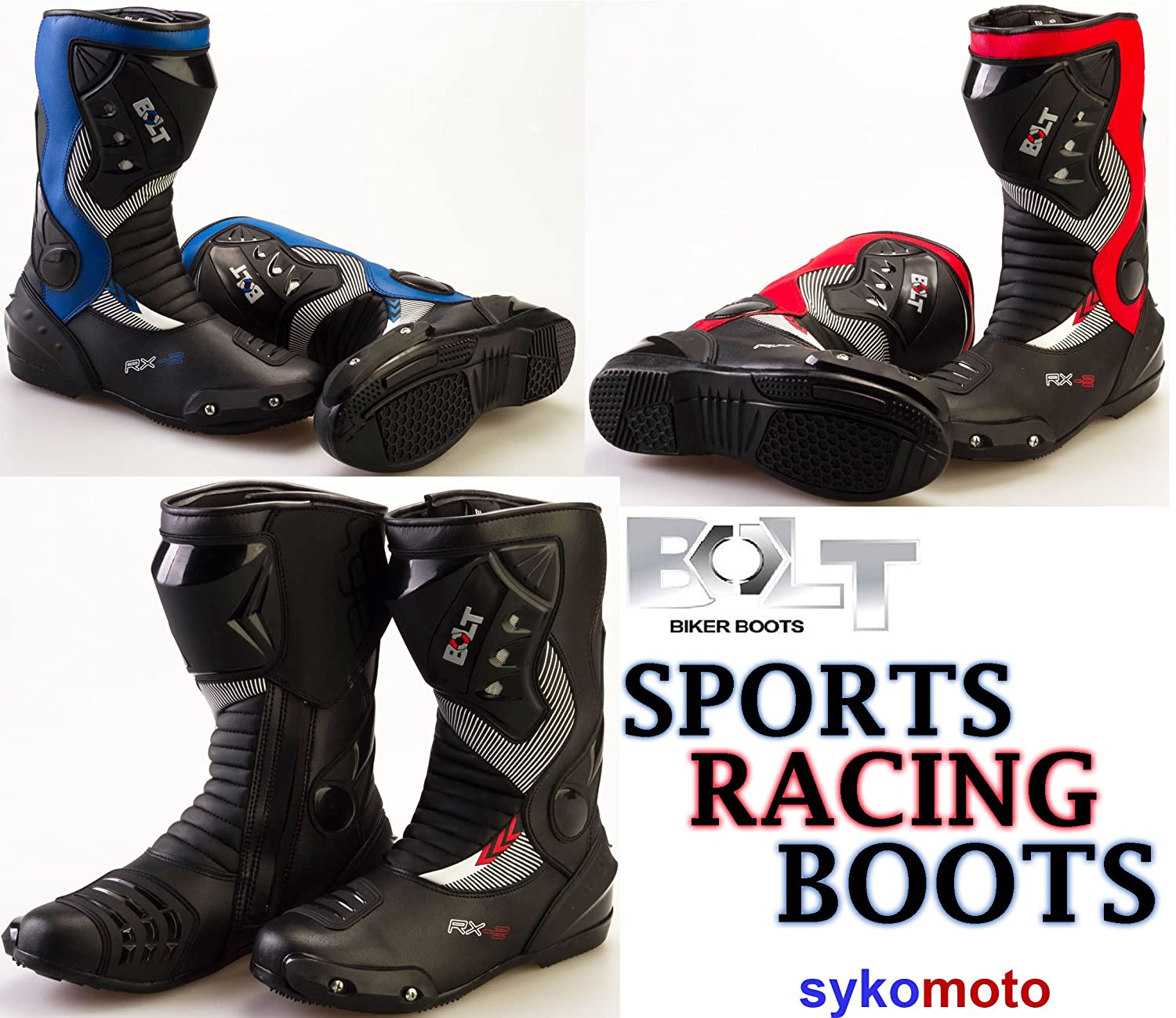 MOTORBIKE BOLT S12 RX2 ADULT SPORTS BOOTS Motorcycle Mens Waterproof Biker Protection Slider Racing Touring Armour Boots MOTOHART BOLT S12 RX2 BOOTS
