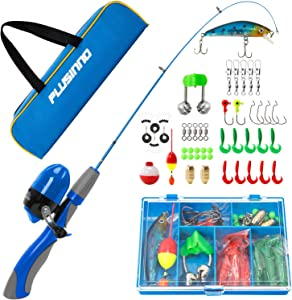 PLUSINNO Kids Fishing Pole,Portable Telescopic Fishing Rod and Reel Full Kits, Spincast Youth Fishing Pole Fishing Gear for Kids, Boys