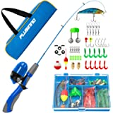 PLUSINNO Kids Fishing Pole,Portable Telescopic Fishing Rod and Reel Full Kits, Spincast Youth Fishing Pole Fishing Gear…
