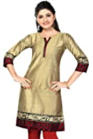 ALC Creations Beige Silk Embroidery Kurti