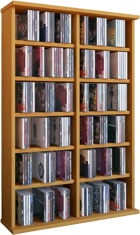 VCM Ronul-Torre para CD/DVD, para 300 CDs, sin Puerta de Cristal, Color Haya, Haya, Haya