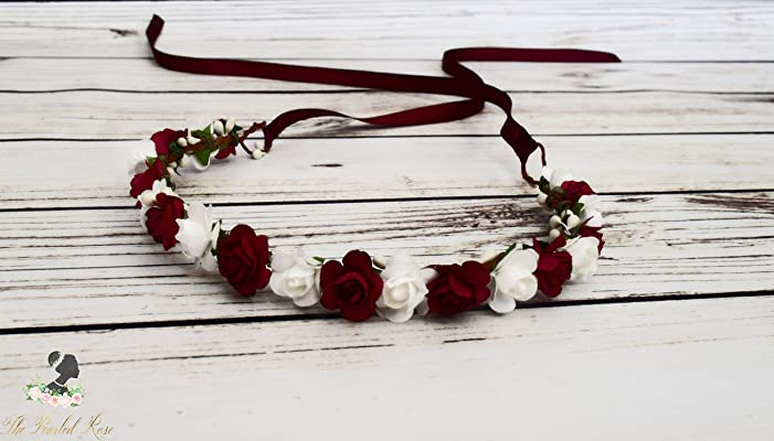 Burgundy White Flower Crown - Romantic Wedding - Unique Wedding - Boho Flower Crown - Burgundy Flower Girl Halo - Wine Bridesmaid Headband