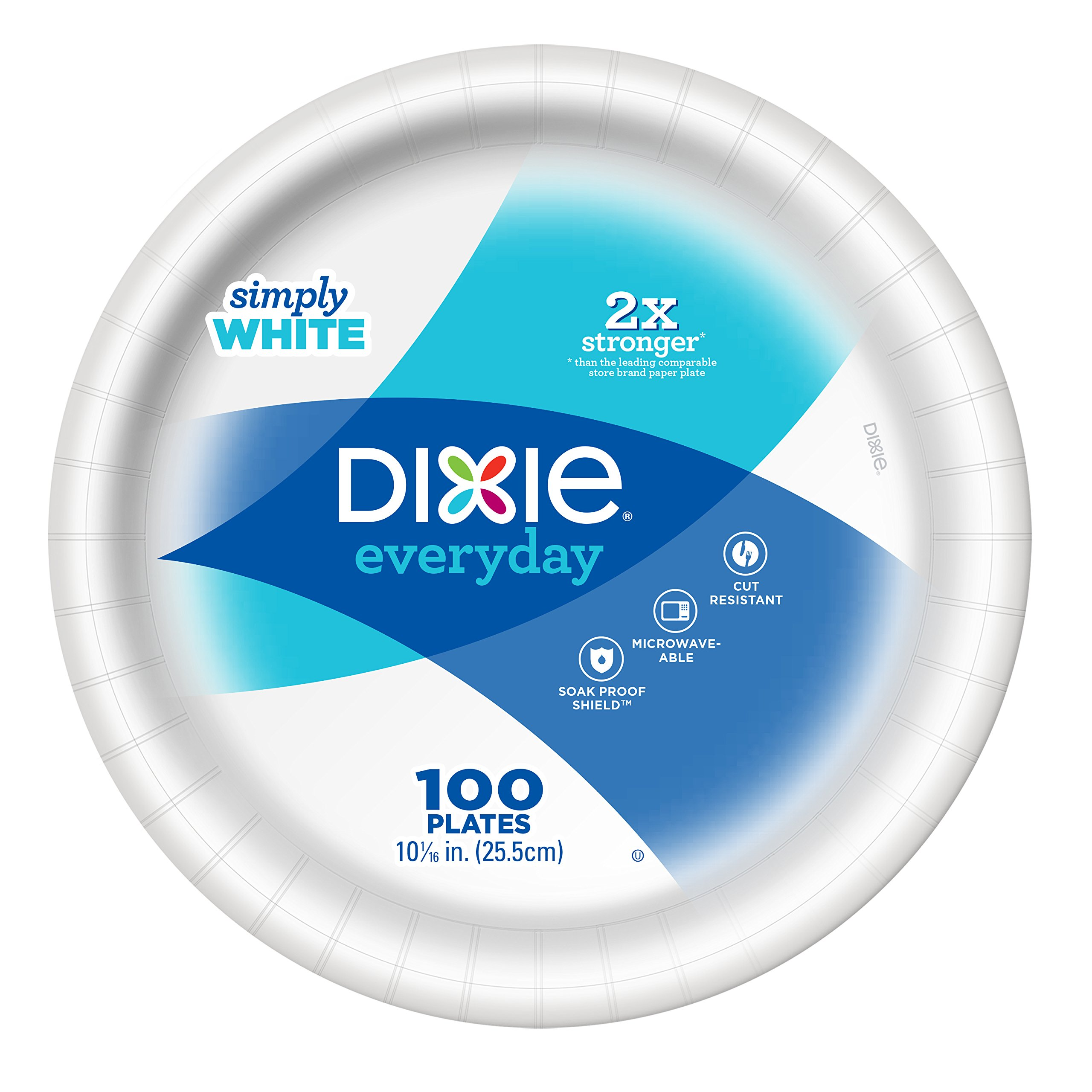 Dixie Everyday 10'' White Paper Plates, Count of 100