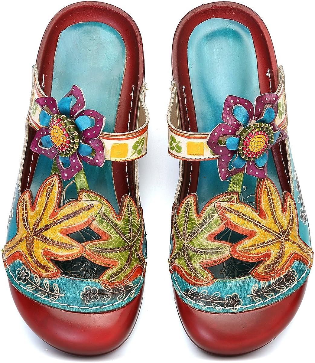 Gracosy Sabots Cuir Femmes Chaussures /Ét/é Sandales Mules Plage Clogs /à Talons Plats Confortable Plateforme Originales Boh/ème Color/ées pour Pieds Larges Bleu Rouge