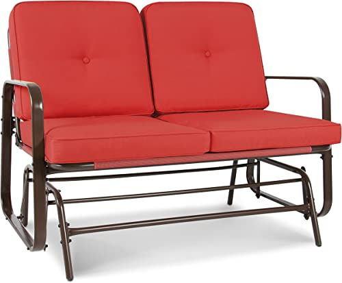 Best Choice Products 2-Person Outdoor Patio Glider Loveseat Rocking Chair w UV-Resistant Cushions – Red Orange