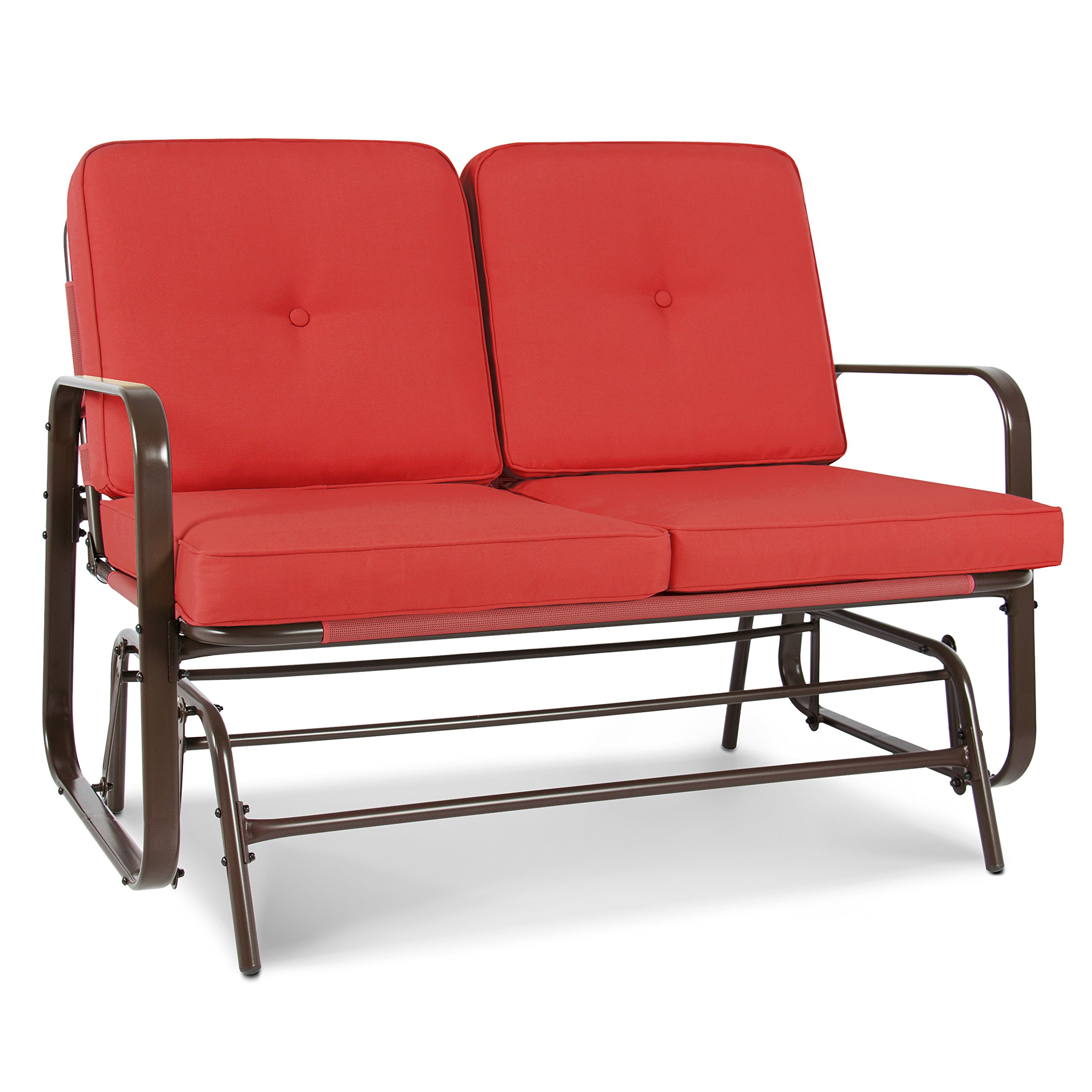 Best Choice Products 2-Person Outdoor Patio Glider Loveseat Rocking Chair w/UV-Resistant Cushions - Red Orange