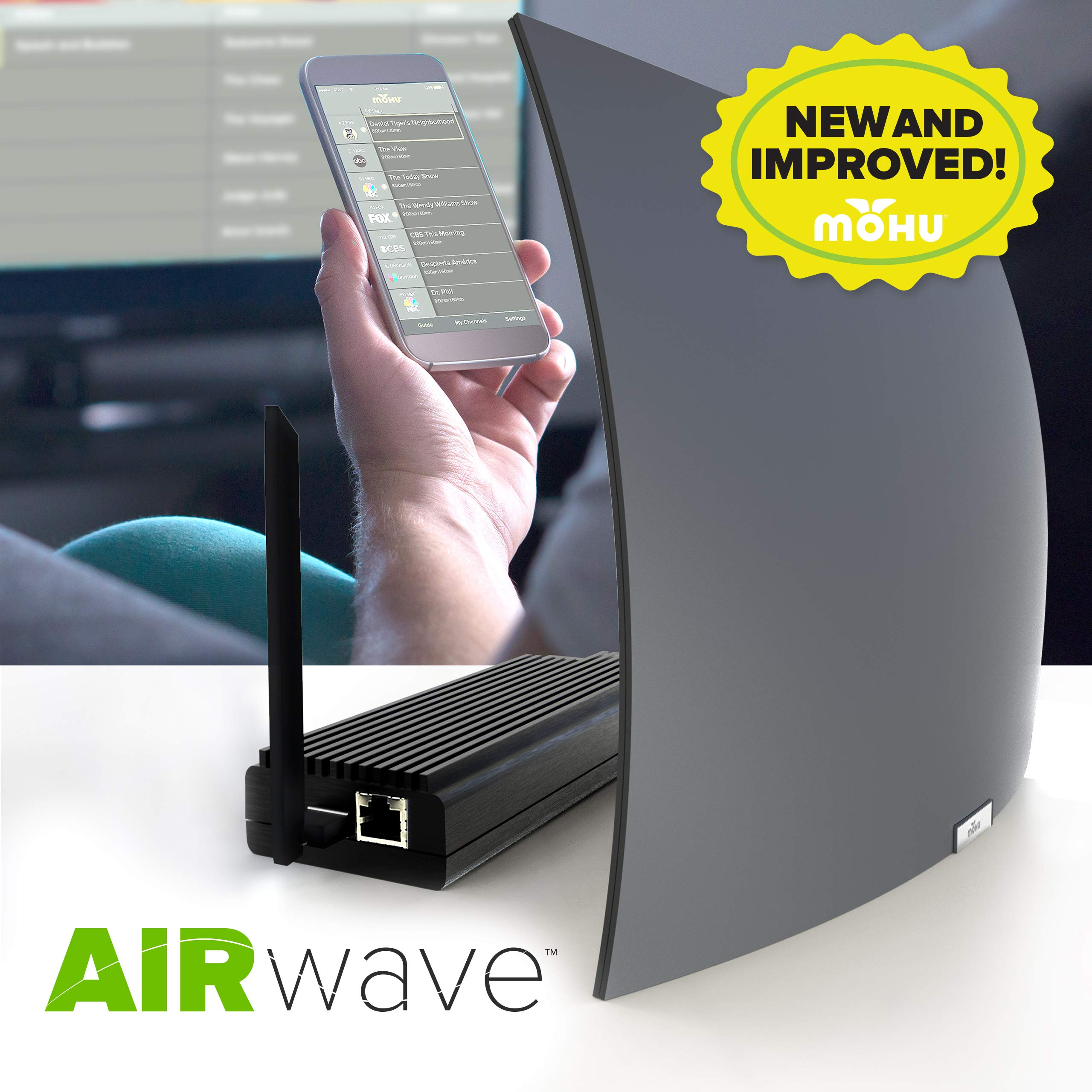 Mohu AirWave 30 Mile Antenna and Tuner with Free OTA Guide App- 2019, New and Improved by Mohu