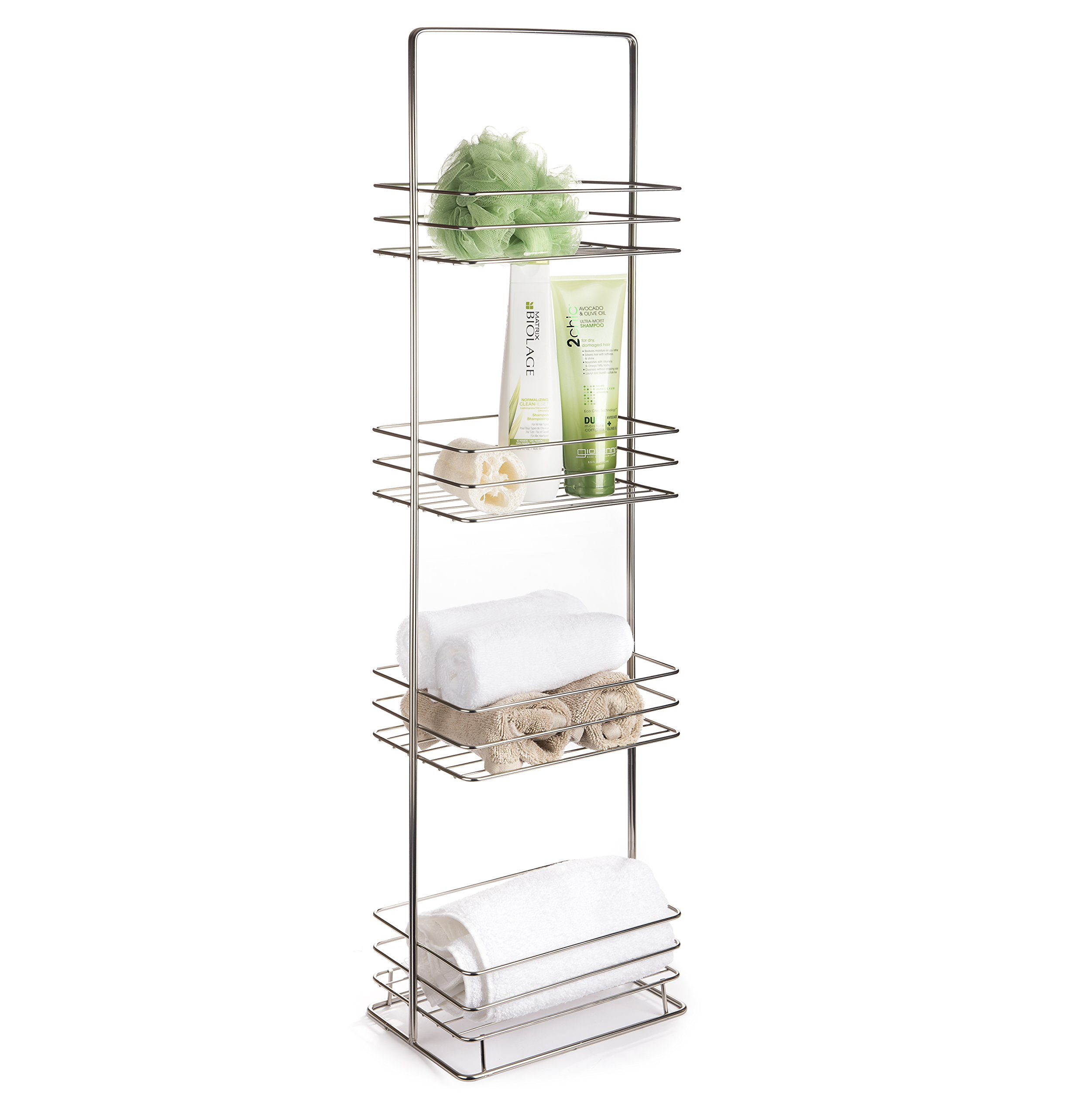 AMG and Enchante Accessories Free Standing Bathroom Spa Tower Storage Caddy, FC100002 SNI, Satin Nickel