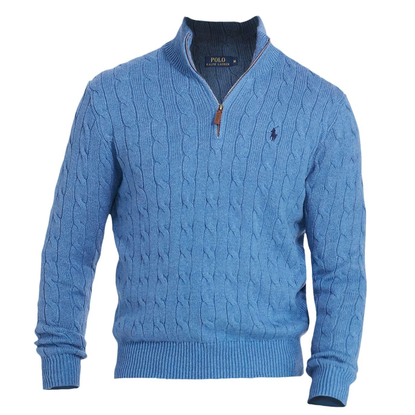 Polo Ralph Lauren Mens Ribbed Trim Mock Neck 1/2 Zip Sweater Blue L