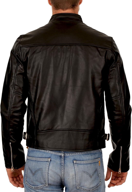 New Mens Genuine Lambskin Leather Slim Fit Biker Motorcycle Jacket for Men P062