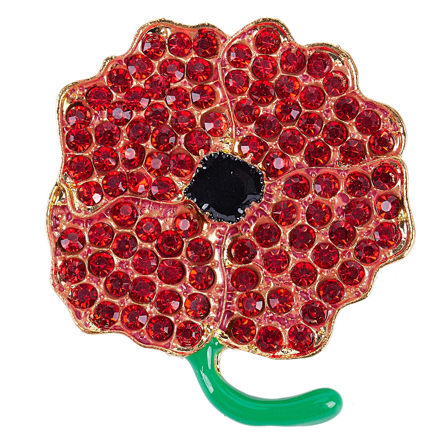 SODIAL Poppy Brooch Symbolic Crystal Diamante Remembrance Day Poppy Pin Badge (4#) 169077