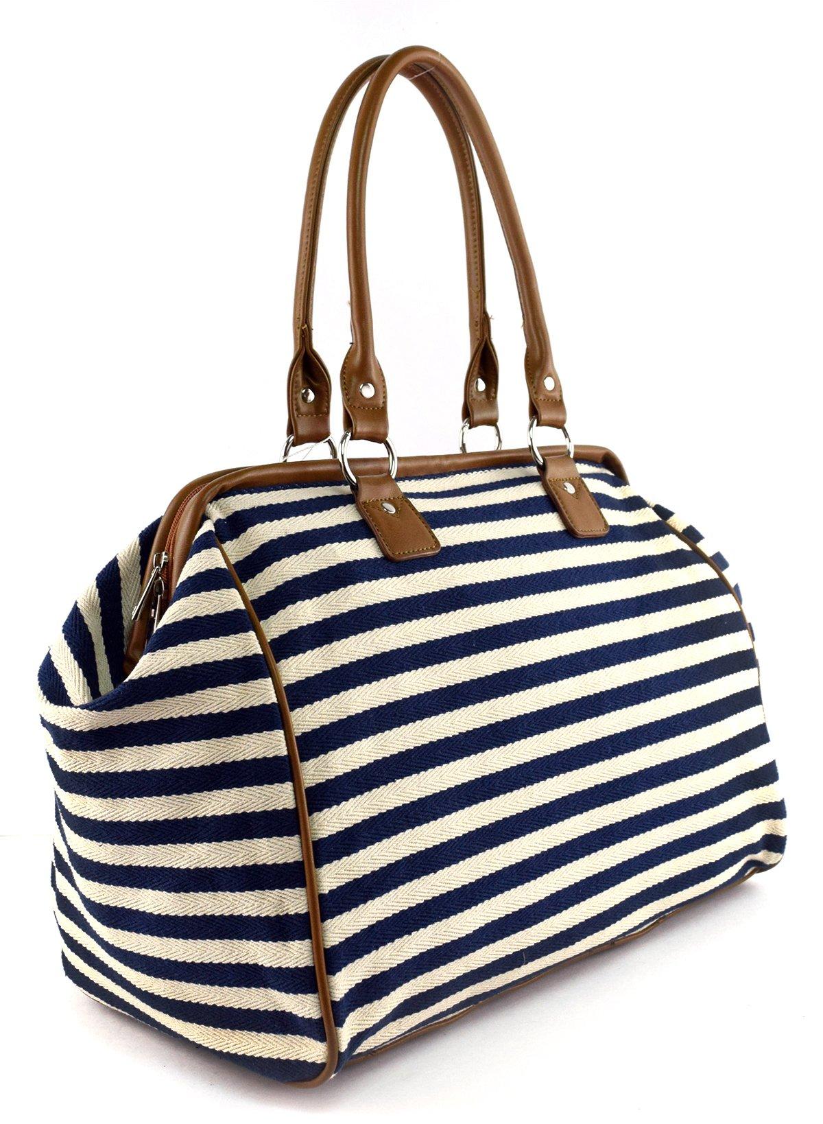 Classic Nautical Stripe 17'' Framed Duffel Bag Carry On Shoulder Tote Handbag