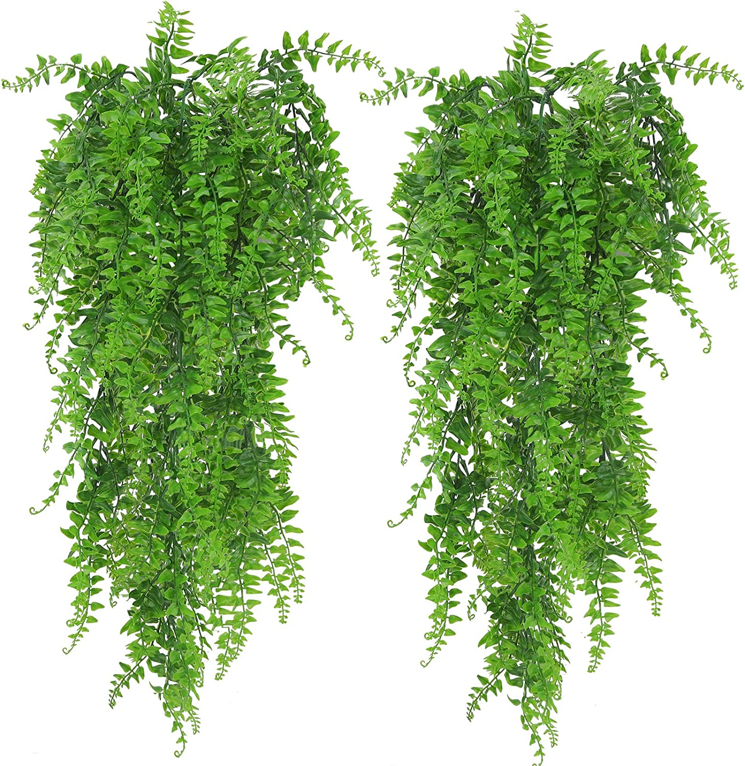 Huryfox 2 Pack Artificial Hanging Plants Fake Ivy Leaves Wall Decoration for Indoor Outdoor, Greenery Home Decor Faux Vine for Living Room & Garden/Bedroom/Farmhouse/Valentine Decorations