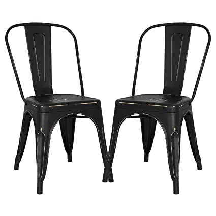 Tremendous Poly And Bark Trattoria Kitchen And Dining Metal Side Chair In Distressed Black Set Of 2 Bralicious Painted Fabric Chair Ideas Braliciousco