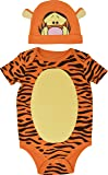 Disney Tigger Baby Boys Bodysuit with Hat Set Short Sleeve, Orange 18 Months