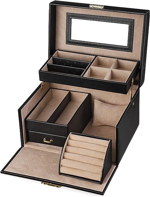Songmics Jewelry Box Girls Jewelry Organizer Lockable Mirrored Storage Case Gift Idea Black Ujbc114 Amazon Ca Home Kitchen