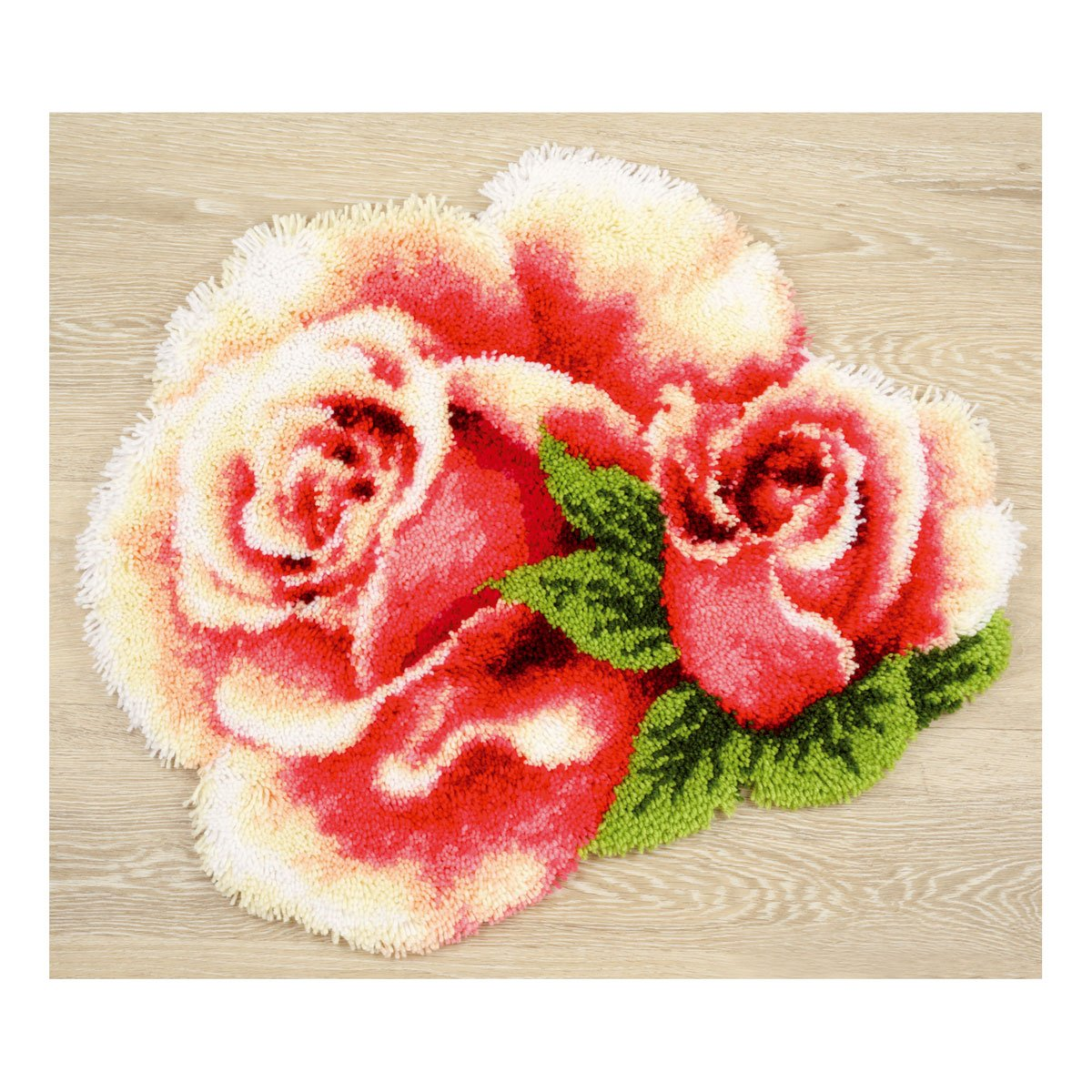 Vervaco Pink Roses Latch Hook Cushion Multi-Colour